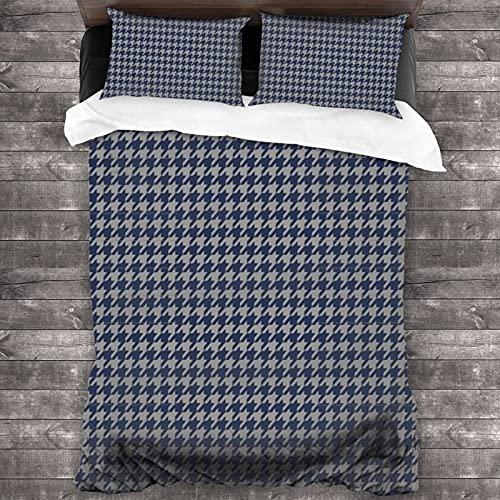 Juego de cama de 3 piezas de pata de gallo azul marino y gris 86 'x 70' súper suave cubierta cálida, juego de cama Queen con 2 fundas de almohada