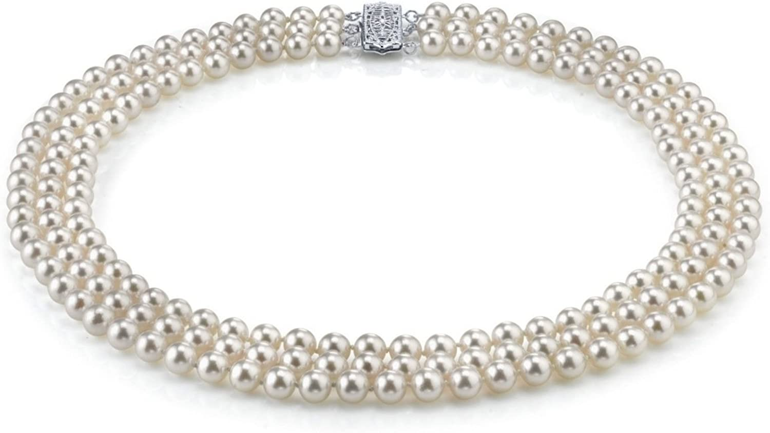 THE PEARL SOURCE 14K Gold 7-8mm AAA Quality Triple Strand White Freshwater Cultured Pearl Necklace for Women in 17-19