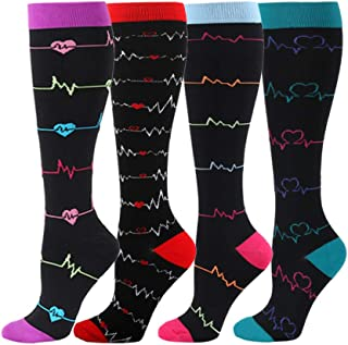 HLTPRO Compression Socks for Women & Men Circulation - 4 Pack for Nurse, Medical, Running, Flight