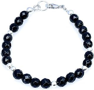 Bracciale con onice nero e argento 925, gioielli con pietre dure, chakra della radice, regalo per lei