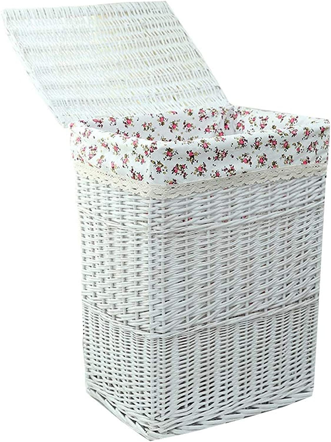 Willow Woven Large Storage Basket Laundry Hampers Box Home Dirty Clothes Toys   Sundries Storage Basketful with Lid (White)