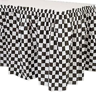Black and White Checkered Plastic Table Skirt