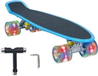 Locisne 56 * 15cm Skateboard plaenche à roulettes rétro complèete avec Roues LED Clignotantes avec Outil T pour Fille, gar...