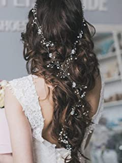 Artio Bride Wedding Hair Vine Accessory Beaded Hair Piece Bridal Headpiece for Women and Girls (Silver)
