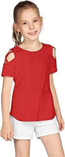 Greatchy Girls Crew Neck Tee T-Shirts Summer Cotton Short/Long Sleeve Tunic Shirts with Cold Shoulder