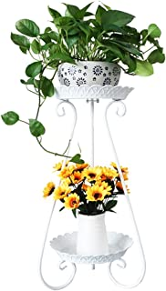 Soporte de Flor Multicapa Europeo de Hierro Forjado de 2 Capas, Adecuado para la Sala de Estar Balcón Interior Soporte de Piso para Ahorrar Espacio (sin Maceta) 0207 (Color : A)