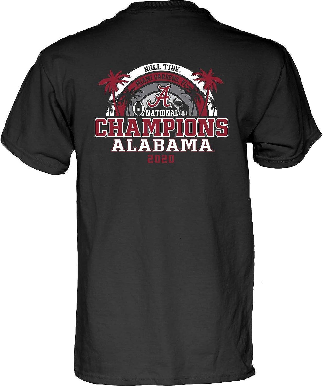 The Blue Brand Blue84 NCAA Mens Alabama Crimson Tide National Champs T Shirt 2020-2021 Back Black