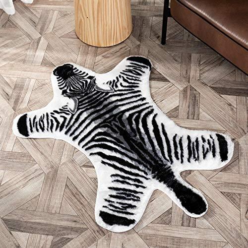 SDAFSA Gemütliches Bettvorleger Tiger Bedruckter Teppich Kuh Leopard Tiger Bedruckter Rindsleder Kunsthaut Leder rutschfeste Anti-Rutsch-Matte 94X 100Cm Animal Print Teppich-Zebra_80 X 105