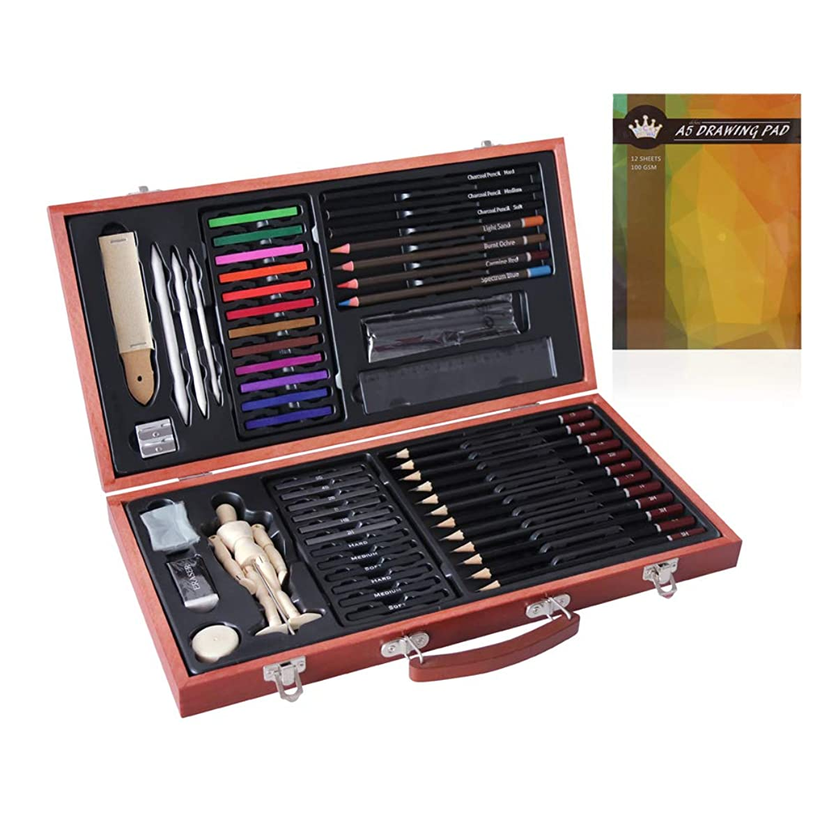 Professional Art kit,58 Piece Sketching and Drawing Art Set,Art Supplies for Drawing,Painting and Wooden Set- Art Kit for Kids,Teens and Adults