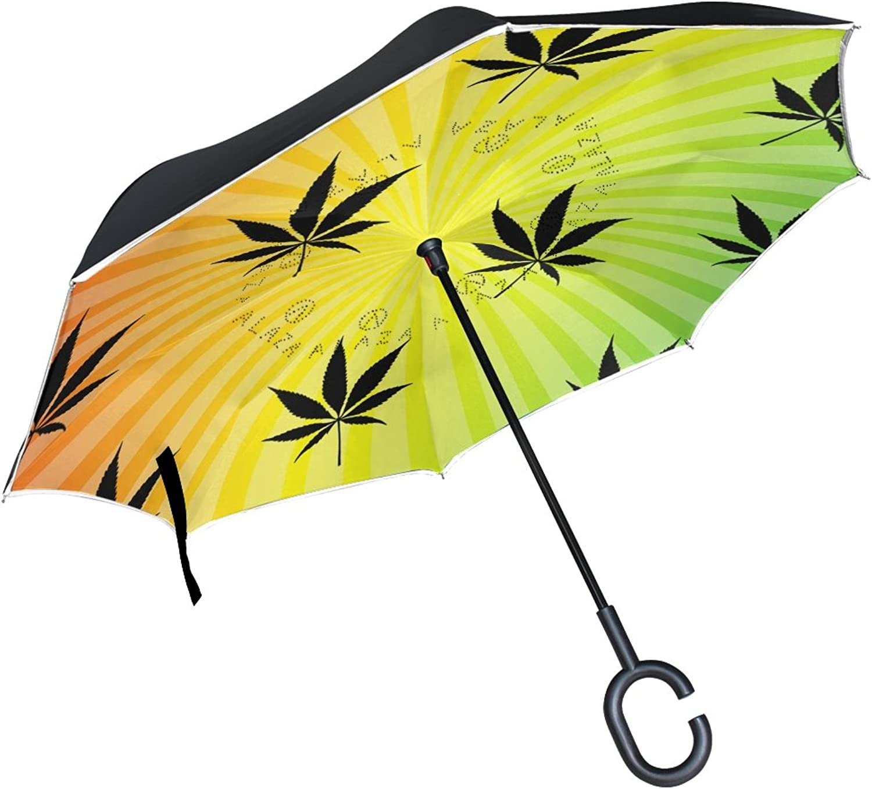 Mydaily Double Layer Ingreened Umbrella Cars Reverse Umbrella Cannabis Marijuana Leaf colorful Windproof UV Proof Travel Outdoor Umbrella