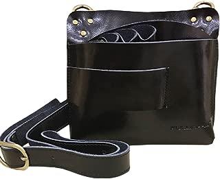 Ibnotuiy Leather Retro Large Professional Barber Salon Scissors Pouch Holster Holder Hairdresser Tool Bag with Belt (Black)