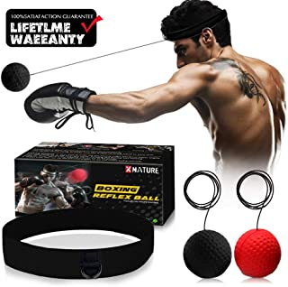 XNATURE Boxing Reflex Ball Gear,2 Colors Boxing Ball with Headband, Perfect for Reaction, Boxing Training, Punching Speed, Fight Skill and Hand Eye Coordination Training (W/Gift Box)
