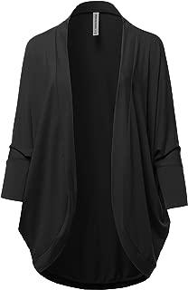 Women's Premium 3/4 Sleeve Loose Fit Open Front Pocket Cardigan