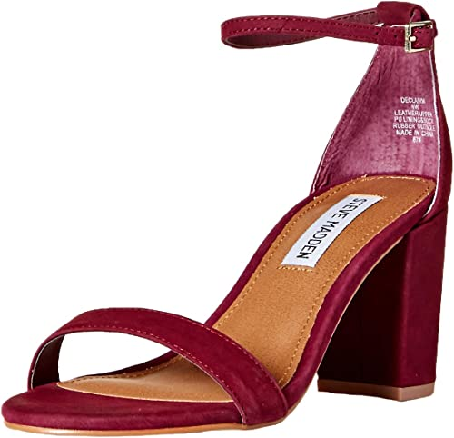 Steve Madden Wohommes DECLAIRW Heeled Sandal, Burgundy Nubuck, 6 W US
