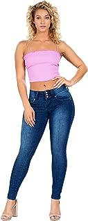 YMI Women's Wannabettabutt Mid-Rise 3 Button Denim Skinny Jeans