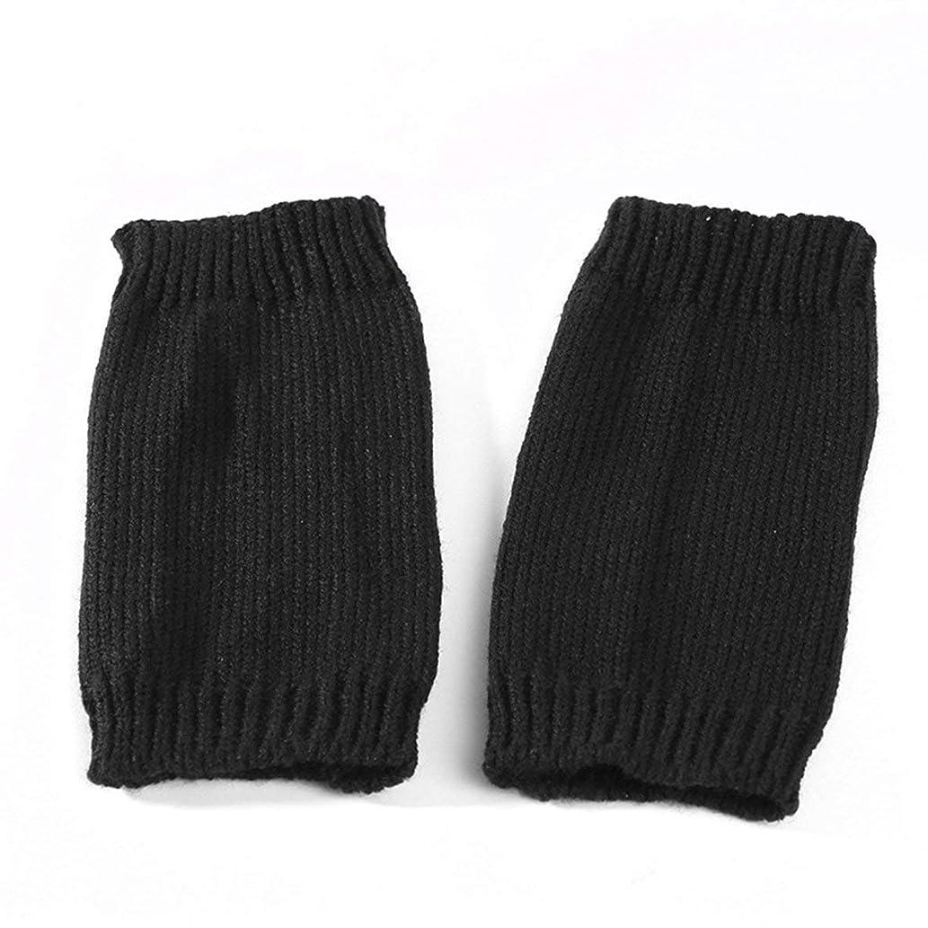知らせるかなりの誰もDyStyle メンズレディースウィンターニットグローブかぎ針編み暖かいサムホールハンドフィンガーレスグローブアームウォーマーカップルグローブ