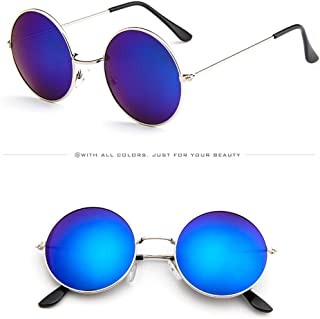 YEZIJIN Women Men Vintage Retro Glasses Unisex Driving Round Frame Sunglasses Eyewear