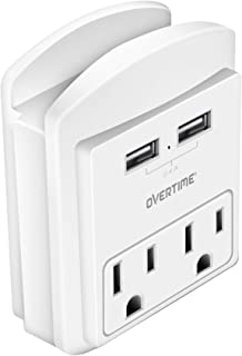 Socket Shelf - USB Wall Charger with 2 USB charging ports 2.4 Amp, 2-outlet Wall Mount with Cell Phone Holder, Surge Protector Multiple Outlet Socket Extender for Home, School, Office, ETL Certified