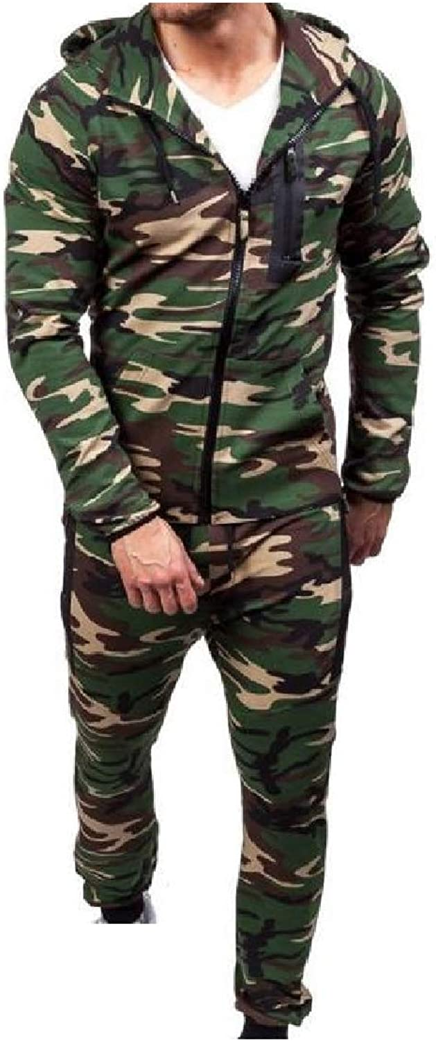 TaoNice Men's Hooded Athletic Sweatsuit Camo PlusSize Tops Outwear and Pants Sets