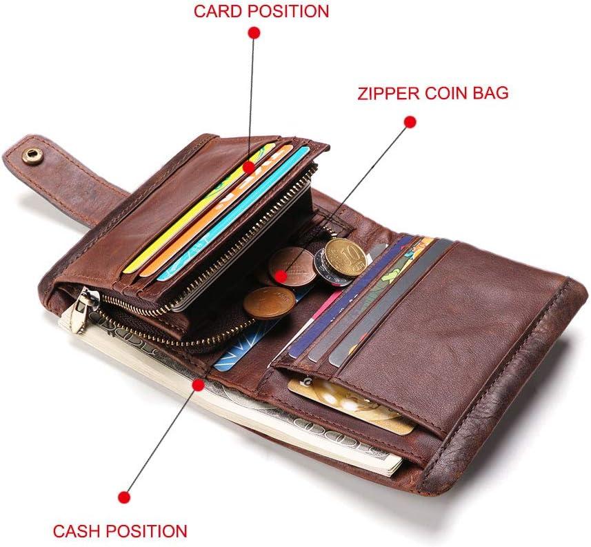 Men RFID Blocking Wallet Vintage Crazy Horse Leather Short Purse Bifold with Coin Pocket
