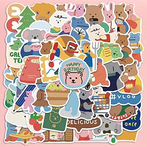 BAIMENG Ins Wind Bear de Corea del Sur, Pegatina para teléfono portátil, Impermeable, Bonita, Maleta, Pegatina para Maleta, 50 Piezas