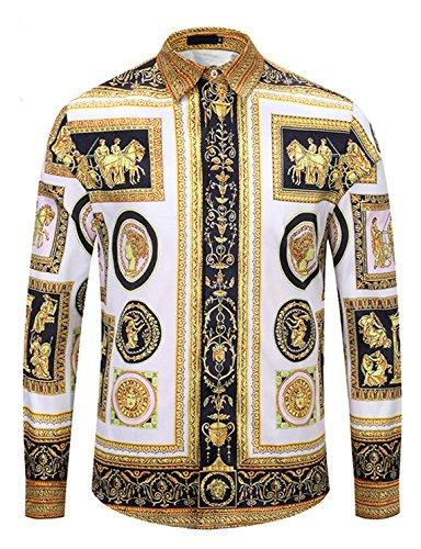 Pizoff, camicia da uomo a maniche lunghe con motivo barocco dorato Y1792-29. L