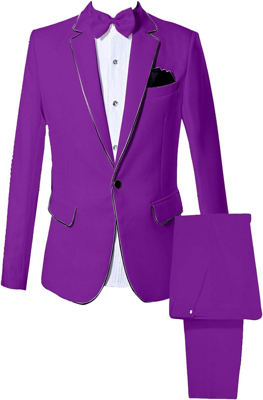 Wemaliyzd Men's Notch Lapel 2 Piece Prom Party Suits 1 Button Blazer Jacket Pants