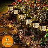 Golwof  6669, Lampada solare da giardino, plastica ABS e acciaio inossidabile, Bronzo, 12 x 12 x 44,5 cm, 6 pezzi