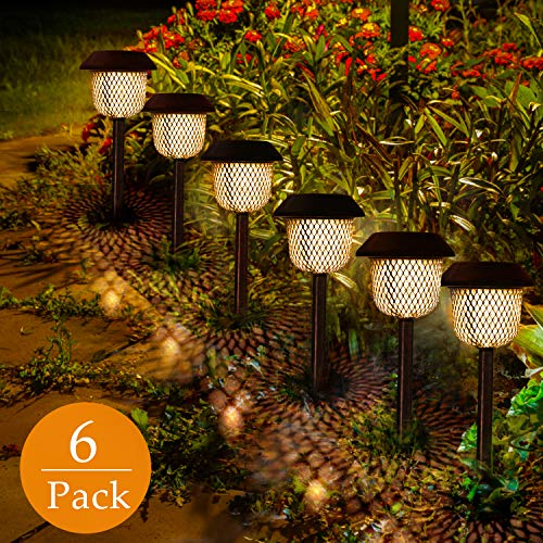 GolWof - Lámpara solar para jardín, 6 unidades, LED, luz blanca cálida, resistente al agua, IP44, Bronce