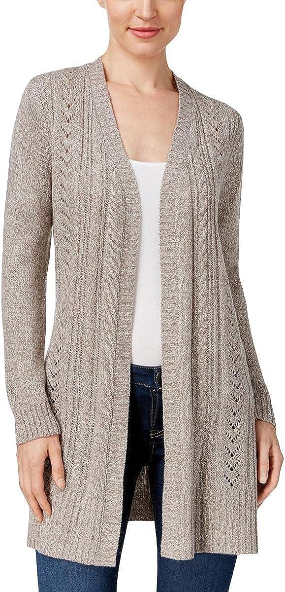 Karen Scott Womens Ribbed Trim Duster Cardigan Sweater Gray XS