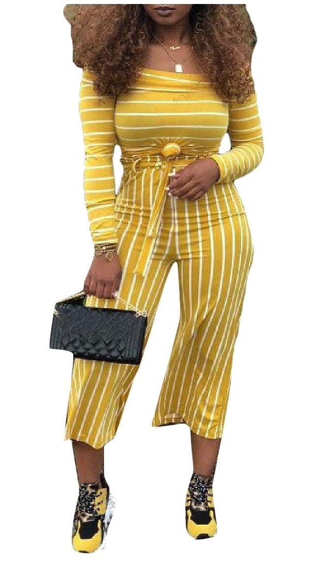 手を差し伸べる佐賀起訴するNicellyer 女性2ピースファッションストライプトップ&ボトムスーツトラックスーツ