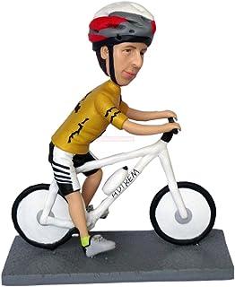 Escultura personal hombre montando bicicleta bobblehead ciclista estatuillas muñecas bobblehead servicio de diseño marca b...