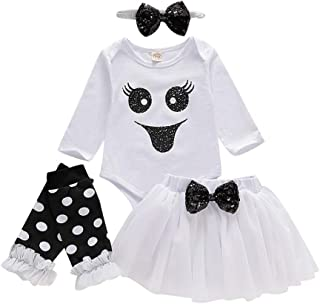 Halloween Clothes Infant Baby Girls Romper Bodysuit+Tulle Skirts+Headband+Leg Warmers Outfits