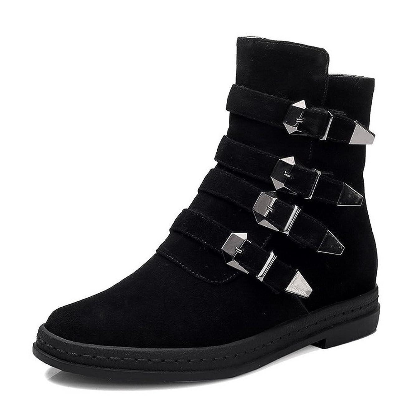侵入合理的もし(ウンファッション) WeenFashion 女性用 ラウンドトゥ 短靴 ミシンで縫い糸 24.5cm 黒い
