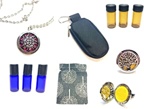 Essential Oil Gift Set - Diffuser Necklace Car Air Freshener - Travel Pouch Bag Case - EO Empty Bottles - Gift Set - Muslin Pouch Trees Sun