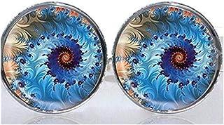 Azulejos de cristal redondo eslabones puños Abstract Burst