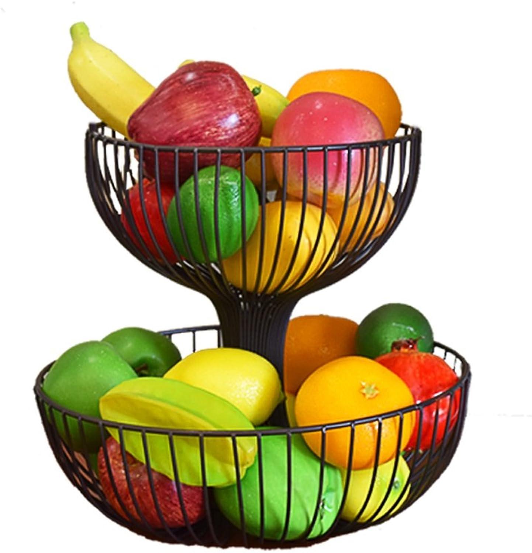 CCJW Panier de Fruits en Fer forgé de 2 Couches, Plaque de Fruits séchés de Stockage de capacité créative de Grande capacité, Noir (Taille   37  37  30)