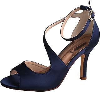 MW7050 Women's Peep Toe High Heels Wedding Sandals Buckles Satin Evening Party Prom Sandals