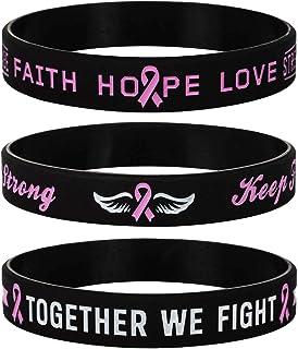 Sainstone Pink Awareness Ribbon Silicone Bracelets with Saying, Mental Health Awareness Bracelets, Cancer & Cause Awarenes...