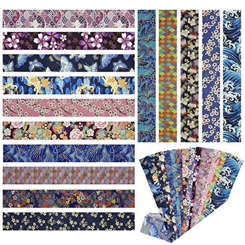 15 piezas Tela algodón Telas Japonés Bronceadora Estampada Tiras de Patchwork 6,5 x 50 cm Algodón Para Coser DIY Telas Decorativas Costura Retales Tela Quilting Scrapbooking (Azul)