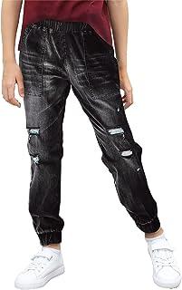 GOSOPIN Girls Drawstring Elastic Waist Pants Distressed Ripped Teens Jogger Denim Jeans