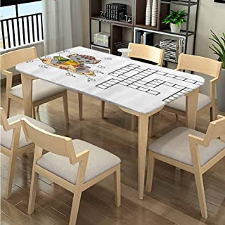 LQQBSTORAGE Elastic Edge Table Covers, Crossword Pattern Printing, Elastic on The Corner Rectangular Polyester Tablecloth Fits Rectangular Tables:48