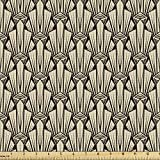 Ambesonne Abstract Fabric by The Yard, Vintage Symmetric Pattern of Pointy Sharp Art Deco Inspired Details, Decorative Fabric for Upholstery and Home Accents, 1 Yard, Beige Brown