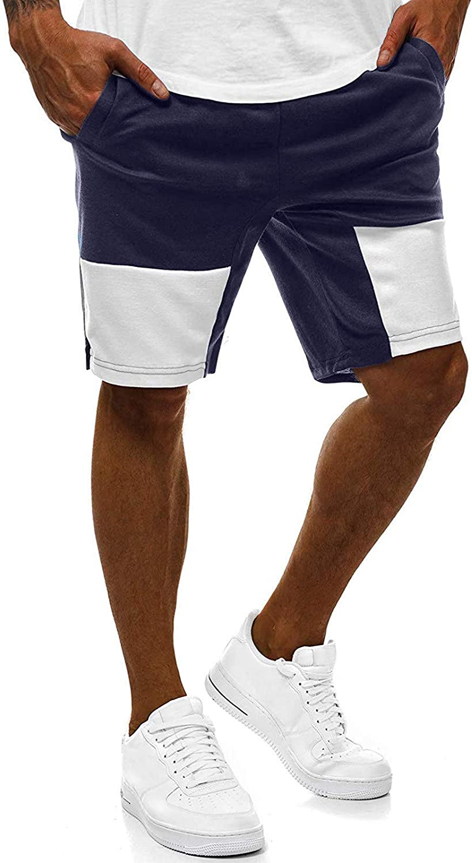 iCODOD Men's Fitness Nashville-Davidson Mall Stitching Fashion Elastic Athl Regular dealer Shorts Waist