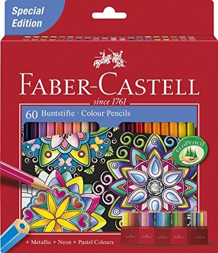 Faber-Castell 111260 - Farbstifte CASTLE Hexagonal, 60er Kartonetui Special Edition (60, Buntstifte)