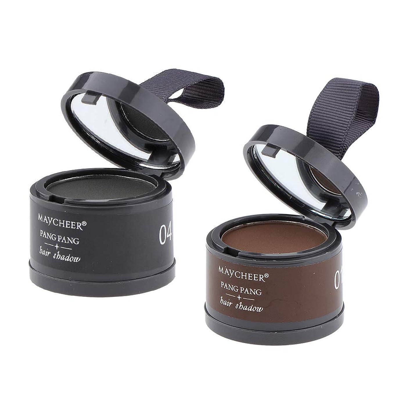 層重要性進化CUTICATE ヘアラインシャドー パウダー 髪パウダー 防水 汗防ぐ 髪の生え際糸調整 防水 パフ付き 2個セット
