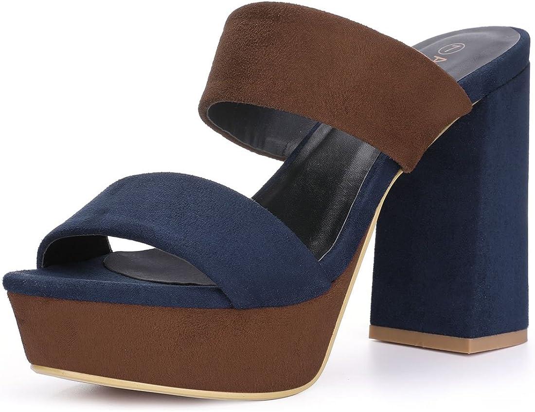 Allegra K Women's Platform Chunky Heel Slide Platform Sandals
