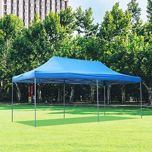DOIT 10ft x 20ft Pop Up Canopy Tent Gazebo for Party or Camping,Portable Wheeled Carrying Bag,Blue