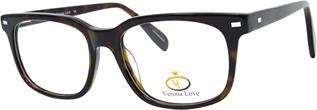 Classic Fashion Optical Frames For Men and Women Replaceable lens Non Prescription Eyeglasses Hand Made Designer Acetate Eyeglasses cute glasses Vintage Classic Tortoise Metal Accent Frame