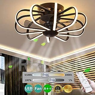 Ventilador De Techo LED Con Control Remoto Ventilador Silencioso 112W Fan Invisible Moderno Luz De Techo Ajustable Con Iluminación Lámpara De Techo Del Dormitorio Niño Regulable Sala De Estar (Black)